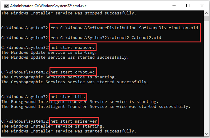 rename two folders and enable WU services