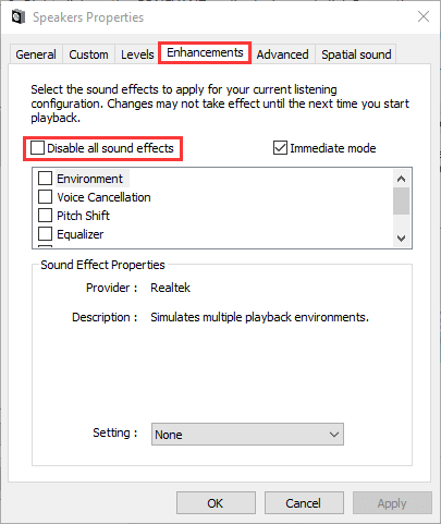 disable audio effects