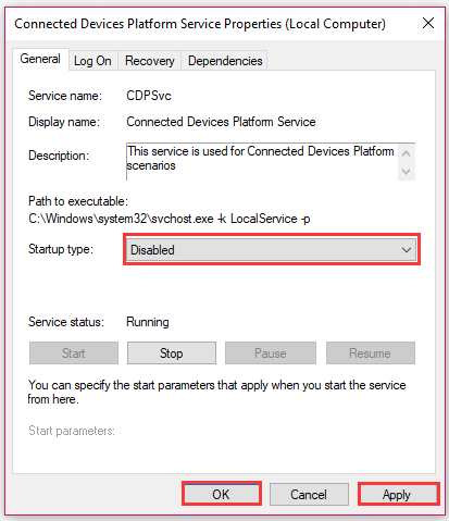 change Startup type to Disabled