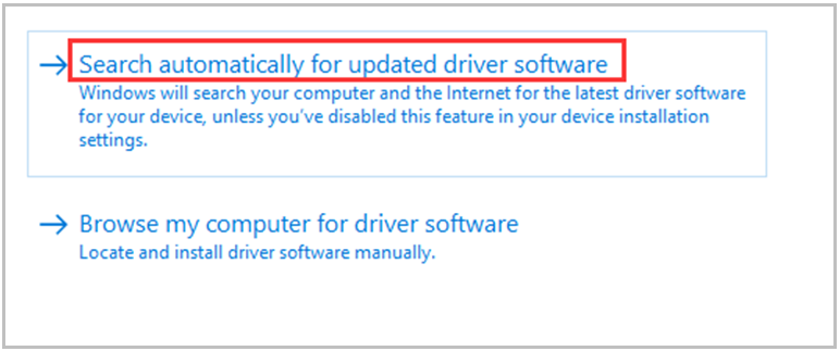 choose the Search automatically for updated driver software option