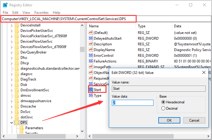 enable Diagnostic Policy Service in Registry Editor