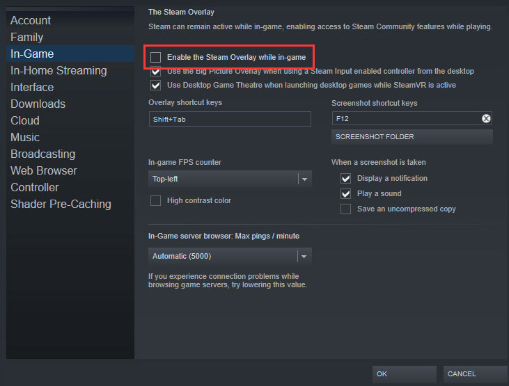 disable the Steam Overlay while in-game