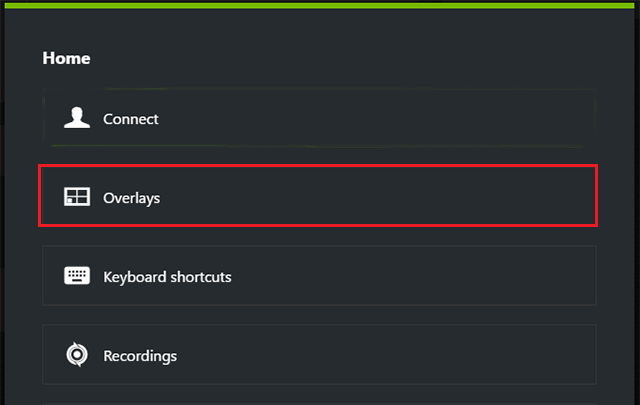 Select Overlays in GeForce Experience Preferences