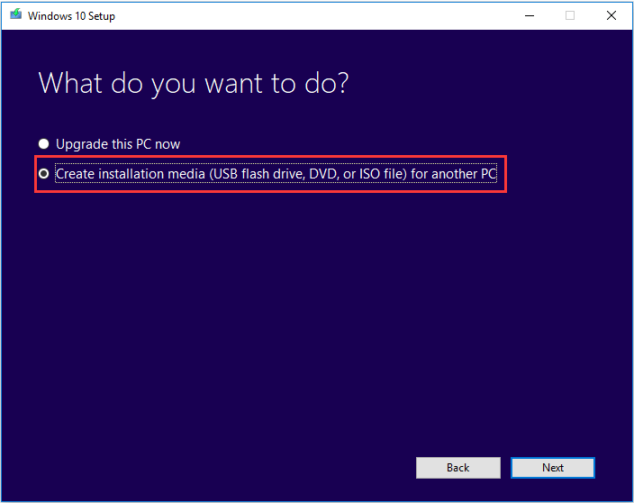 choose to create installation media
