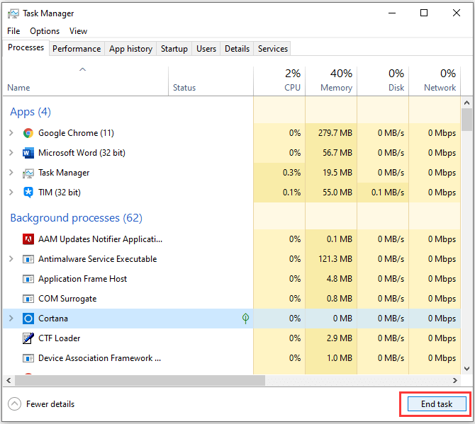 End Task in Task Manager