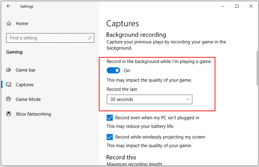 Enable Background Recording