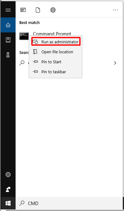 run command prompt as administrator in the search box