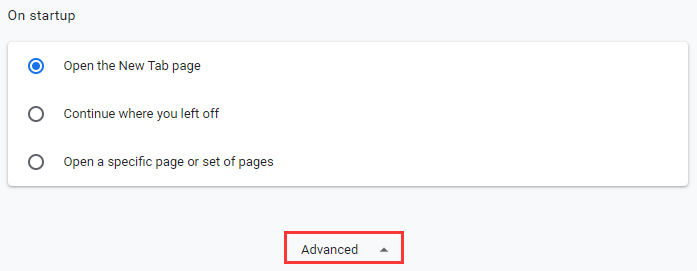 click on Advanced on Startup google