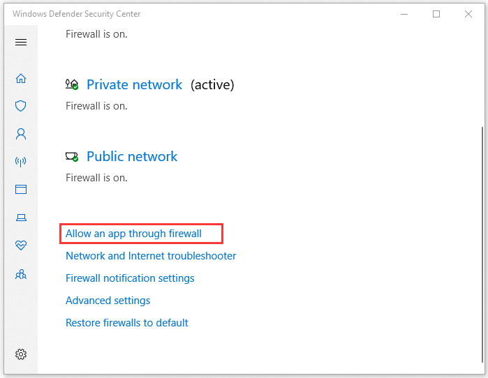 click on Allow an app through firewall
