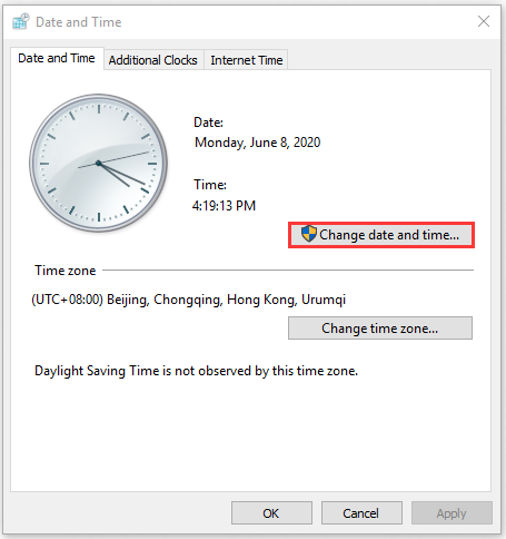click on Change date and time