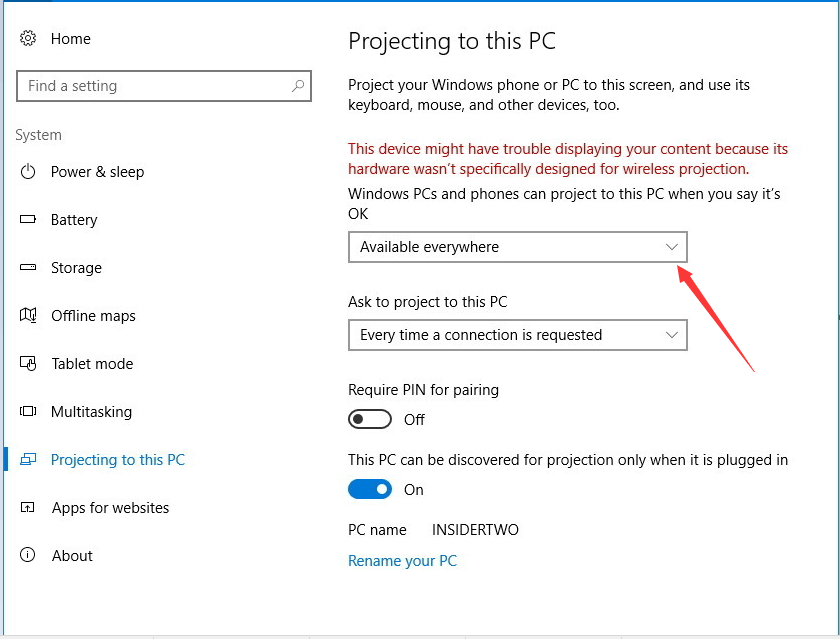 Specify Windows Projecting Settings