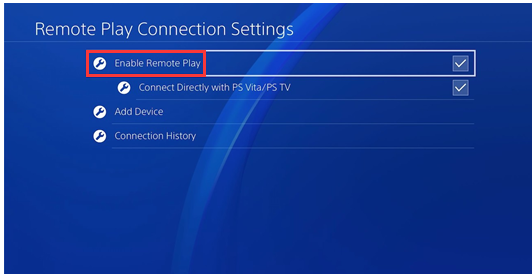 click on enable remote play option