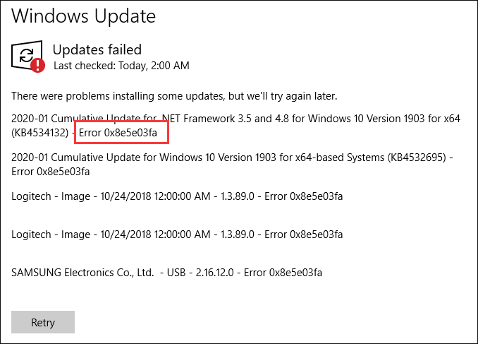Windows update error 0x8e5e03fa