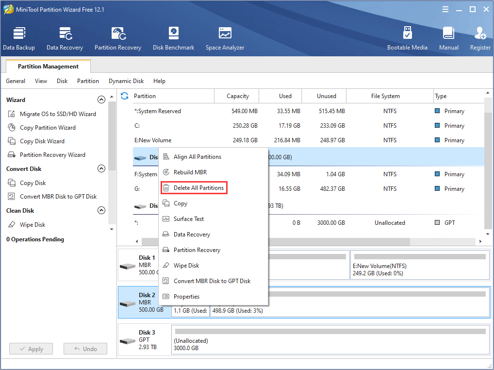 delete all partitions on SSD