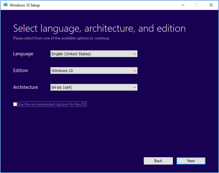 select Language, Windows Edition and Architecture