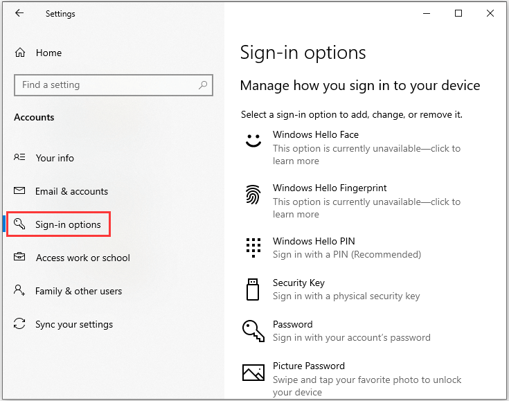 select Sign-in options