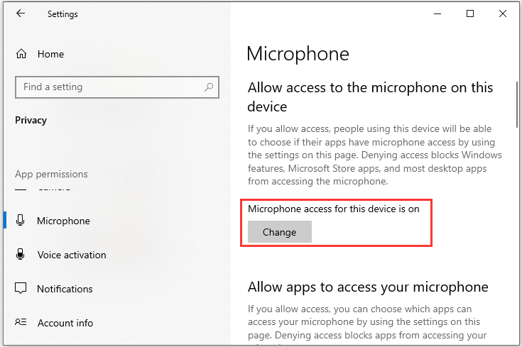 turn on Microphone access
