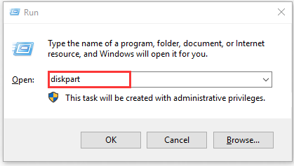 type diskpart in the Run dialog box