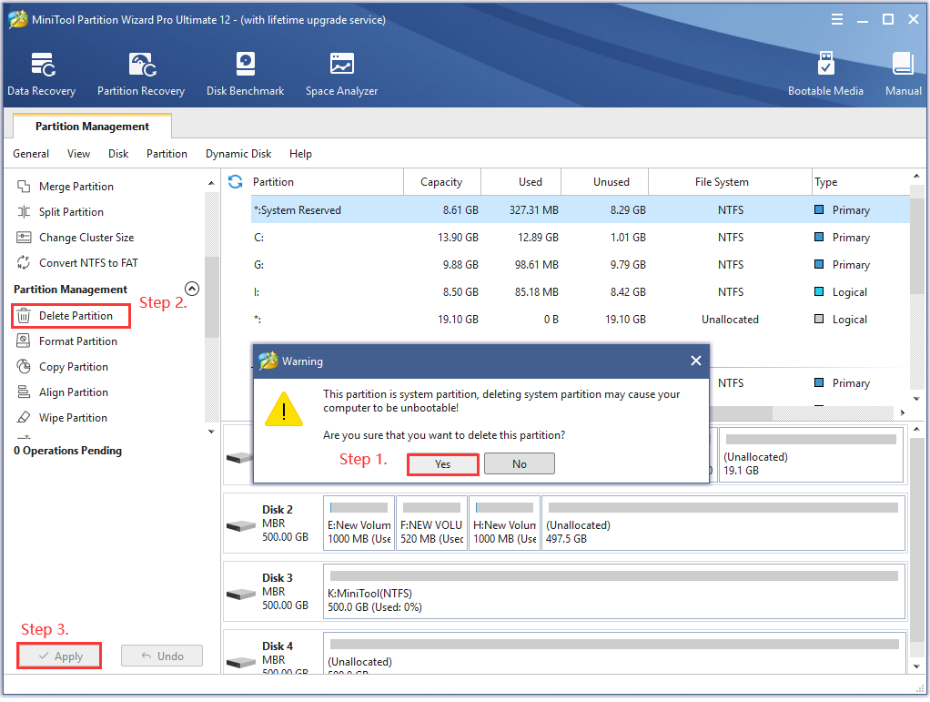 the process of deleting EFI system partition