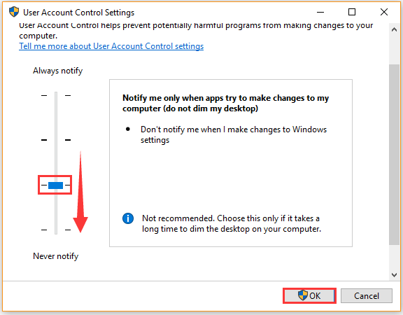 disable User Account Control