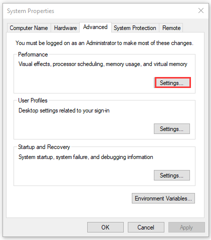 click on Settings under Performance section