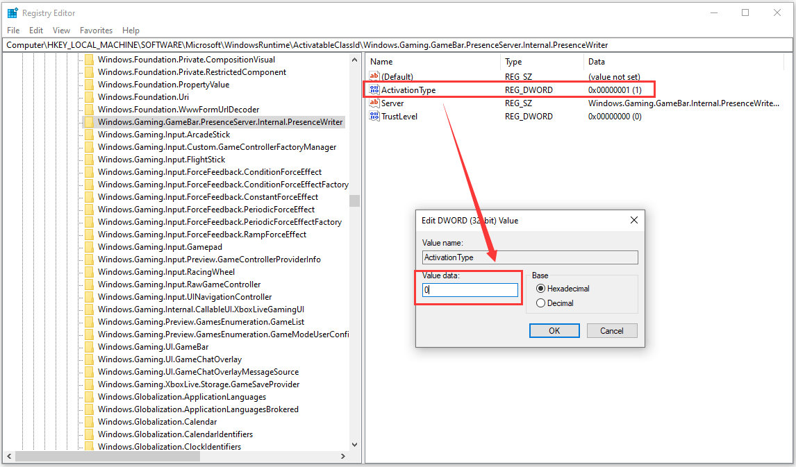 Change ActivationType Value to 0