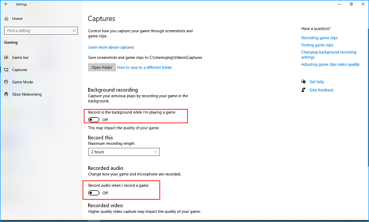 Turn off Captures in Windows Settings