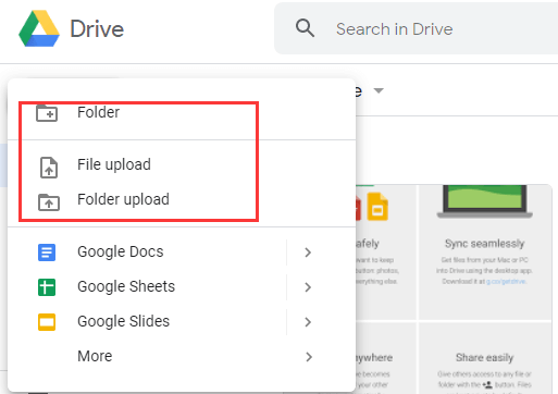add folders or files to a Google Shared drive
