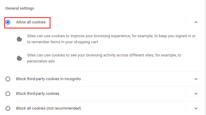 Allow sites to save and read cookie data