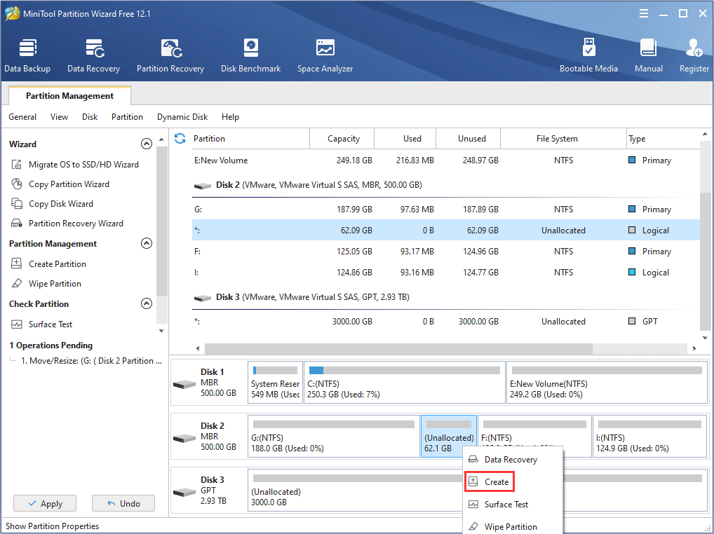 create new partition