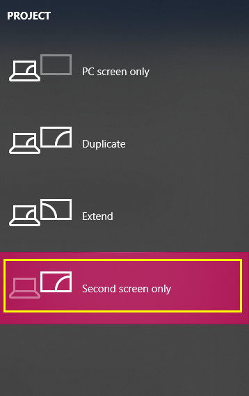 select Second Screen Only