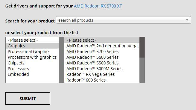 Search or Select AMD Graphics Card Driver
