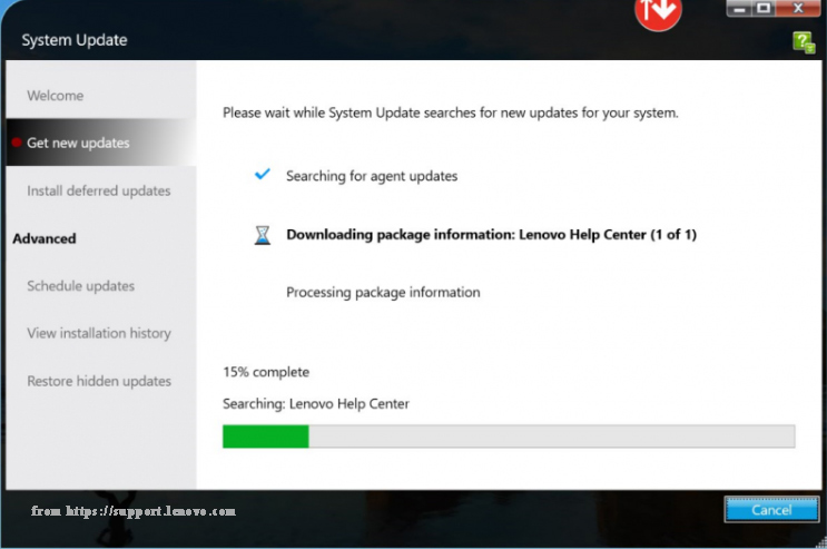 Lenovo System Update is preparing all available updates