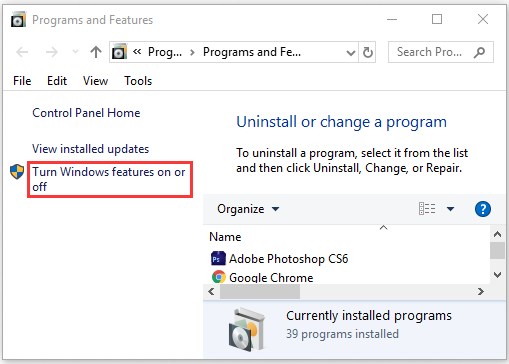 click on Turn Windows features on or off