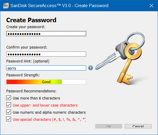 create a password for SanDisk SecureAccess