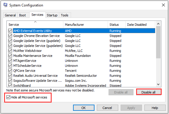disable non-Microsoft services