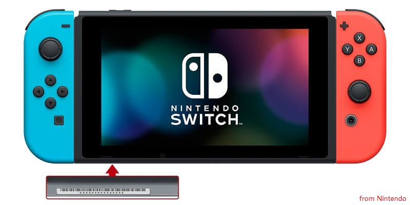Nintendo Switch Serial Number on Console