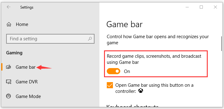 enable Game bar feature