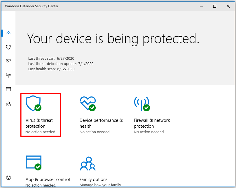 choose virus and threat protection