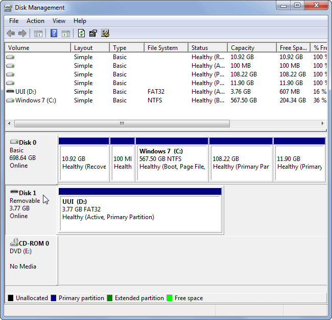 note down the disk number associated with the USB drive