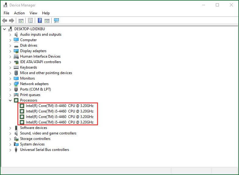 Find Processor Details in Device Manager