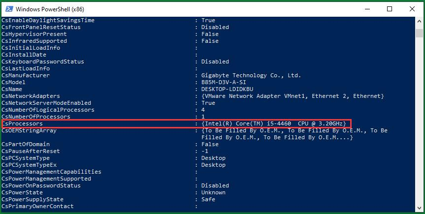Search Processor Info in Windows PowerShell