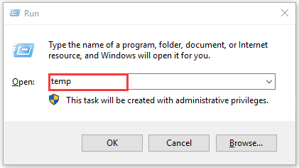 type temp in the Run dialog box