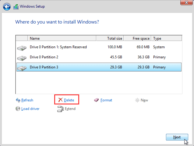 delete partitions and create new ones