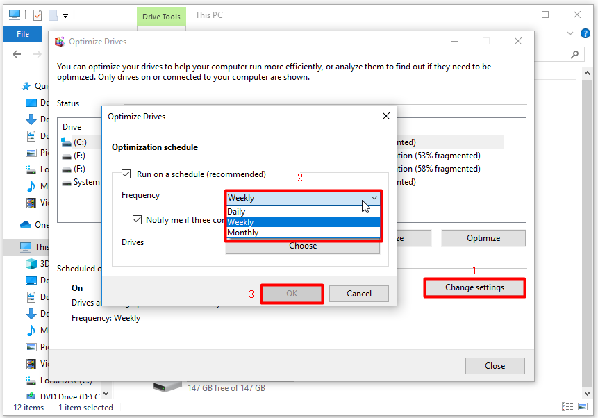 configure optimization schedule and save the changes