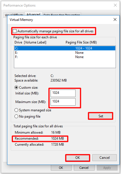 configure the virtual memory and save the changes
