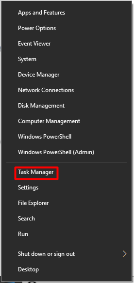 open task manager from the start menu