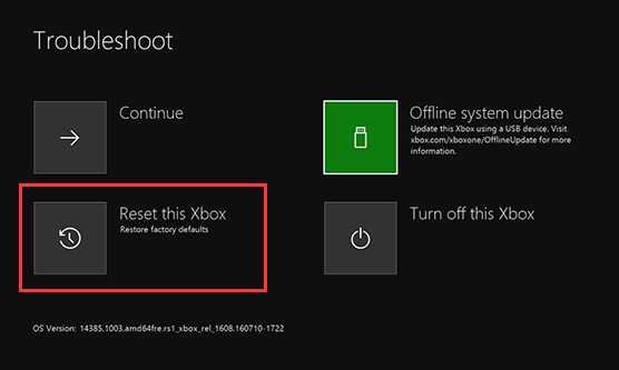 select the Reset this Xbox option