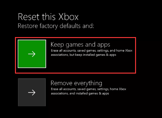 select Keep games and apps in Xbox