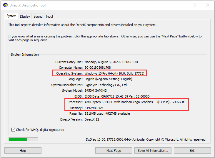 check PC specs in DirectX Diagnostic Tool